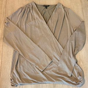 Banana Republic taupe gray wrap top large L